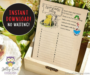 Book Themed Baby Shower Game - A to Z Baby Words