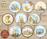 Winnie The Pooh Cupcake Toppers - Party Circles for Baby Shower