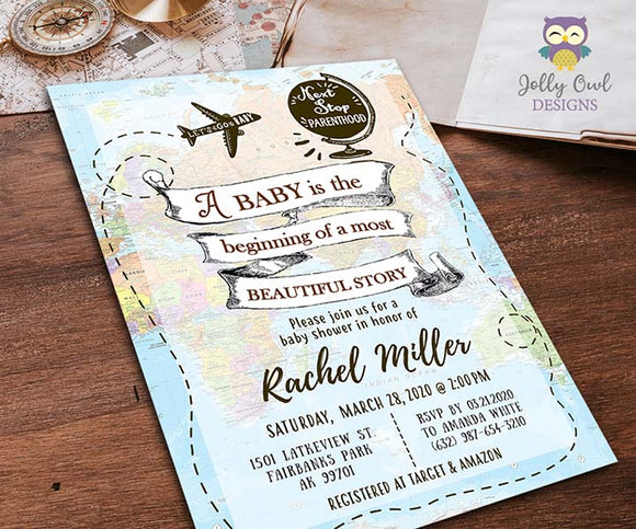 Baby Around The World Baby Shower Invitation Card Travel Theme