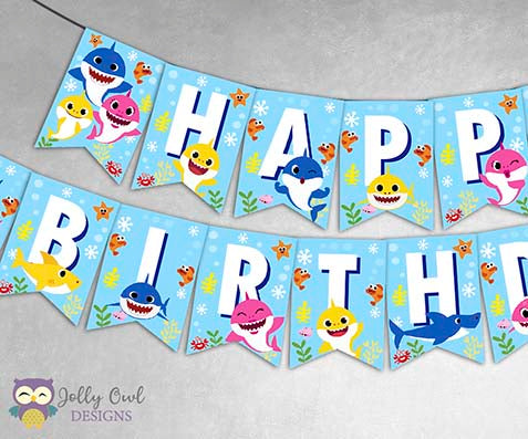 Baby Shark Happy Birthday Banner