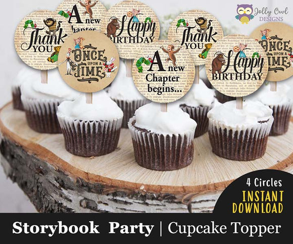 Storybook Themed Cupcake Toppers  for Birthday