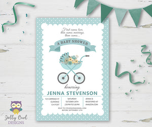 Boy Carriage Baby Shower Party Invitation