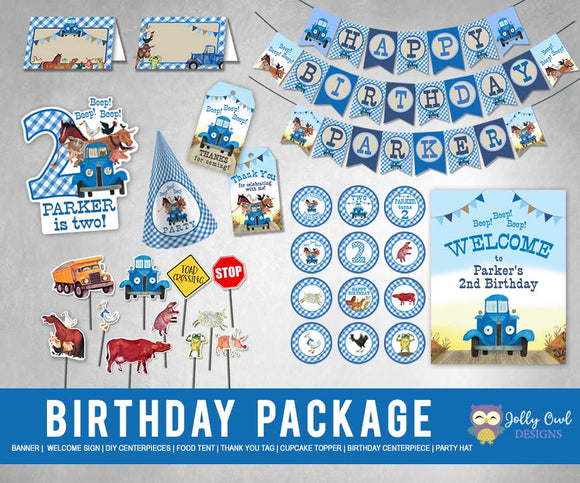Little Blue Truck Birthday Party Package - PERSONALIZED