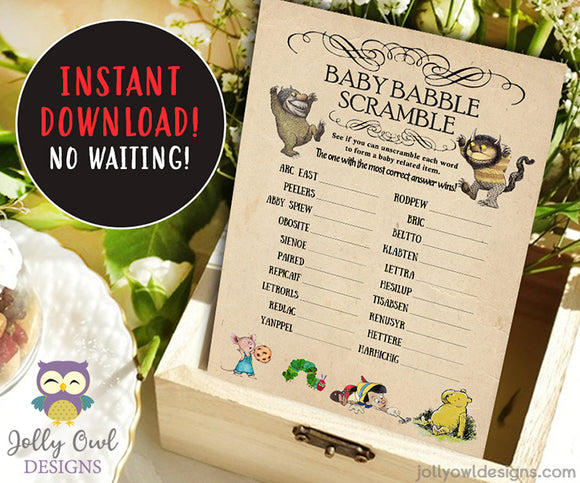 Book Themed Baby Shower WORD SCRAMBLE Game Card