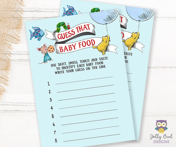 Book Themed Baby Shower Game - Guess That Baby Food