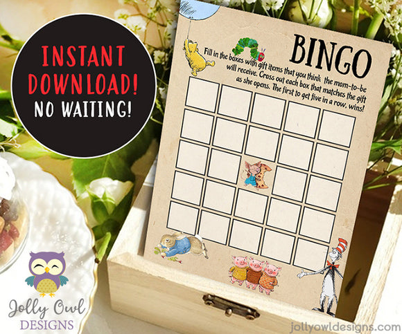 Book Themed Baby Shower BINGO Game Printable