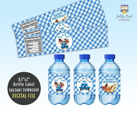 Little Blue Truck Water Bottle Label for Birthday Party - Digital File