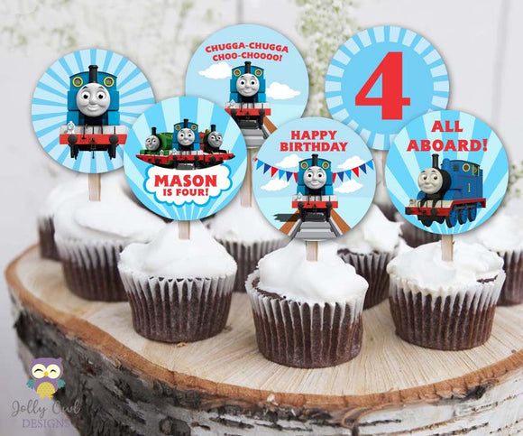 Cupcake Toppers for Thomas The Train Birthday Party