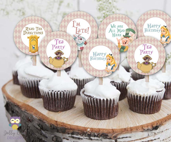 Alice In Wonderland Tea Party Cupcake Toppers