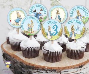 Peter Rabbit Birthday Cupcake Toppers Party Circle for Age 3
