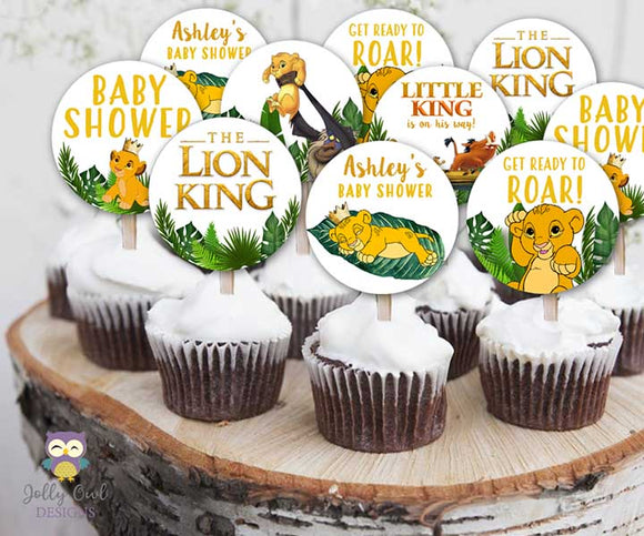 The Lion King Baby Shower Cupcake Topper | Personalized Party Circles