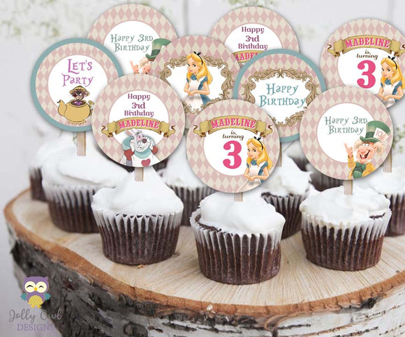 Alice In Wonderland Personalized Cupcake Toppers