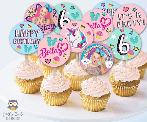Jojo Siwa Cupcake Toppers | Personalized Birthday Party Circles