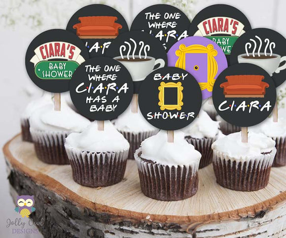 Friends TV Cupcake Toppers | Personalized Baby Shower Circles