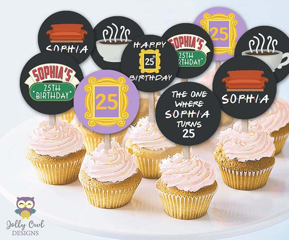Friends TV Cupcake Toppers | Personalized Birthday Party Circles