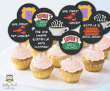 Friends TV Cupcake Toppers |  Personalized Bridal Shower Circles
