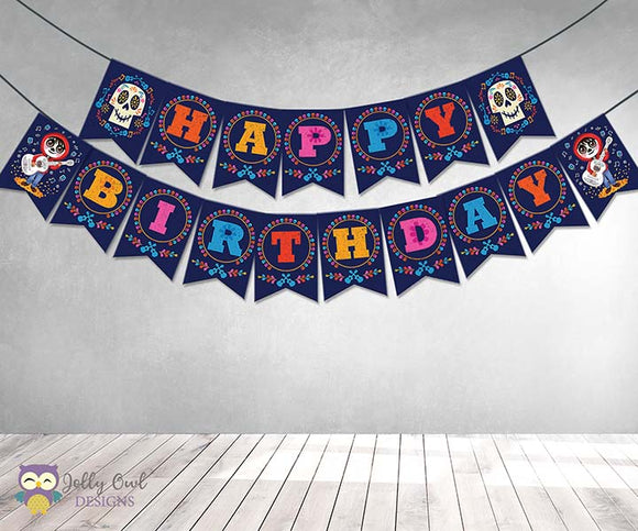 COCO Theme Happy Birthday Printable Banner