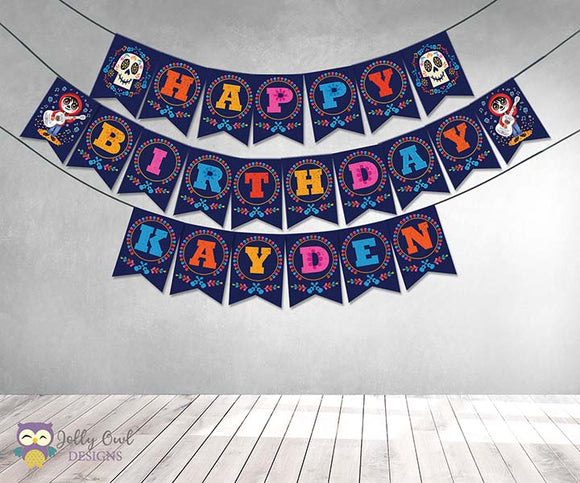 COCO Happy Birthday Printable Banner Personalized