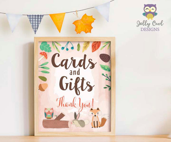 Woodland Themed Baby Shower/Birthday Party Cards and Gifts Sign