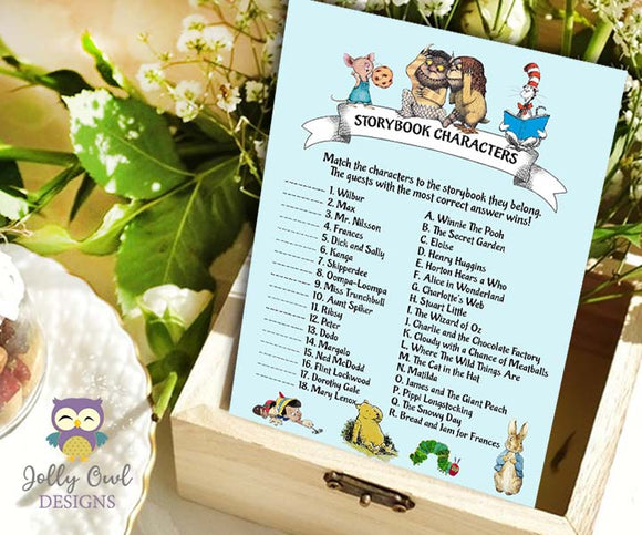 Book Themed Baby Shower Game - Character Match