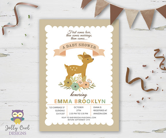 Baby Shower Party Invitation - Fawn Baby Deer