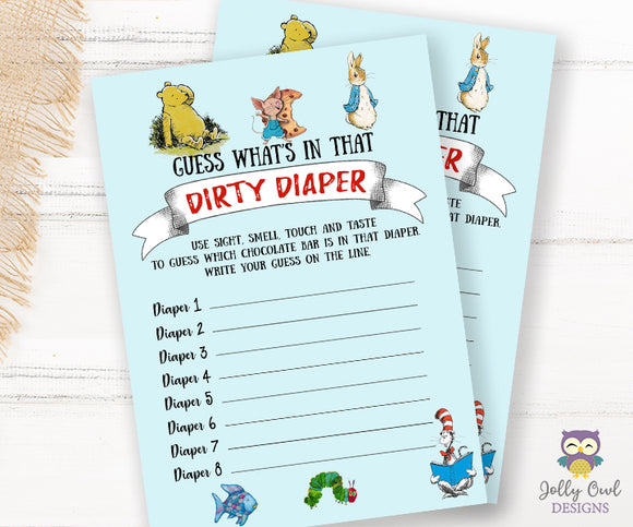 Book Themed Baby Shower Game - Dirty Diapers