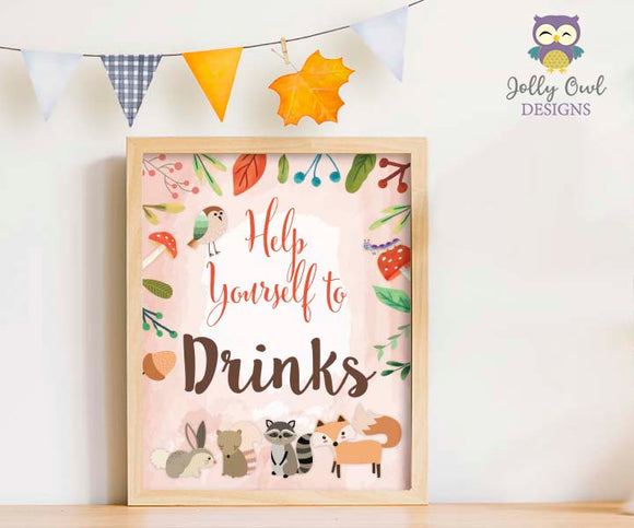 Woodland Themed Baby Shower/Birthday Party Drinks Sign