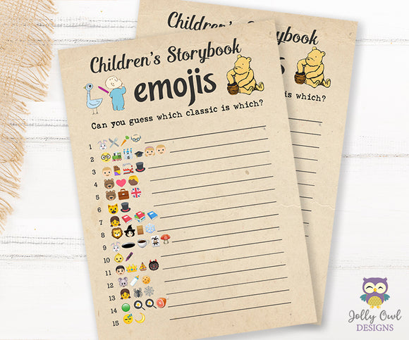 Story Book Themed Baby Shower Game - Emoji Pictionary