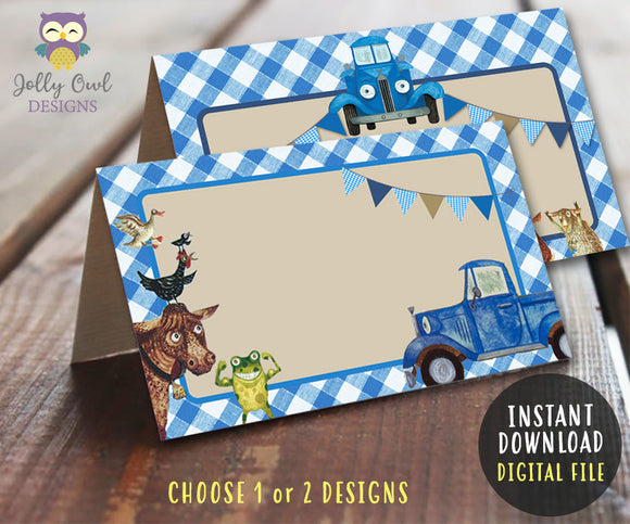 Blank Food Tent Label for Little Blue Truck Party Theme - Jolly Owl Designs