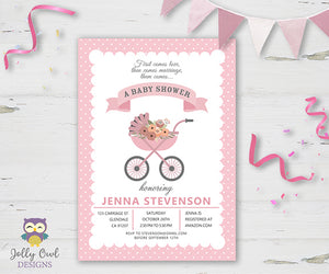Girl Carriage Baby Shower Invitation