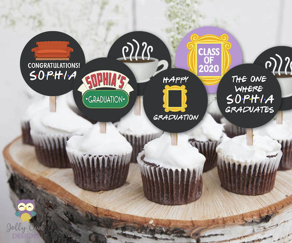 Friends TV Cupcake Toppers Personalized Graduation Party Circles