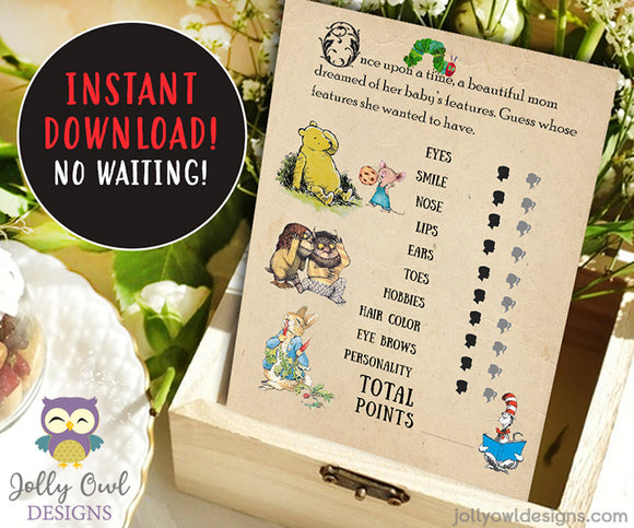 Book Themed Baby Shower Game - Who Knows Mommy Best