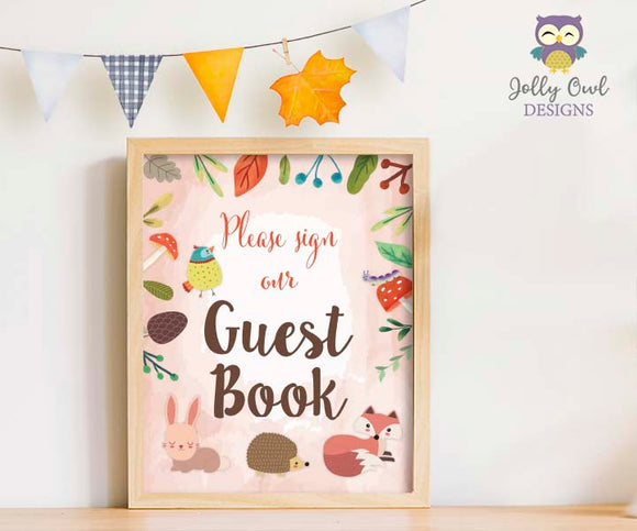 Woodland Themed Baby Shower/Birthday Party Guest Book Sign