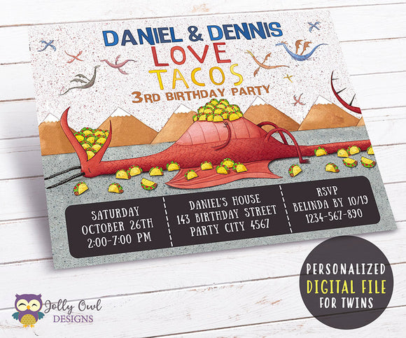 Dragons Love Tacos Birthday Party Invitation - For Twins