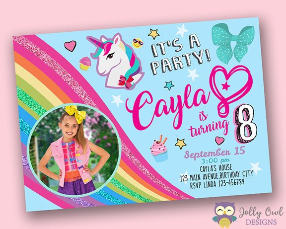 Jojo Siwa Birthday Party Invitation