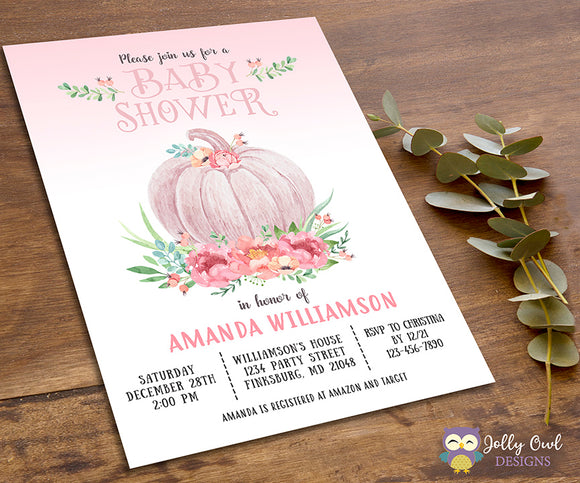 Baby Shower Party Invitation - Little Pumpkin