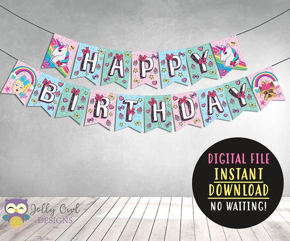 Jojo Siwa Theme Happy Birthday Printable Banner