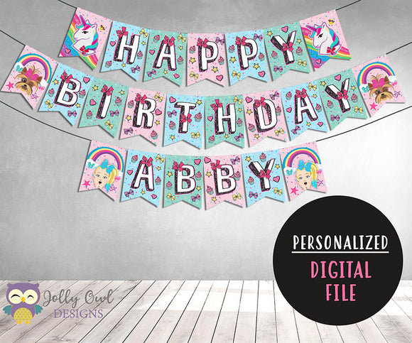 Jojo Siwa Theme Happy Birthday Printable Banner Personalized