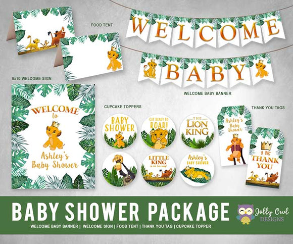 The Lion King Baby Shower Personalized Bundle Kit Package