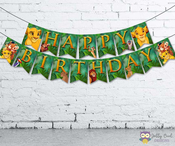 The Lion King Happy Birthday Banner