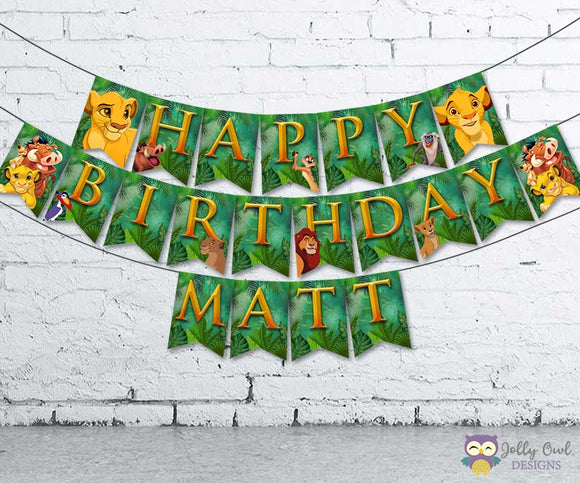 The Lion King Personalized Happy Birthday Printable Banner