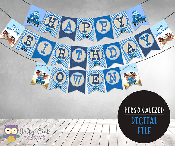 Little Blue Truck Happy Birthday Party Banner