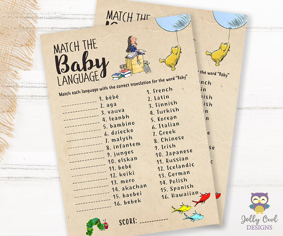Story Book Themed Baby Shower Game - Baby Language