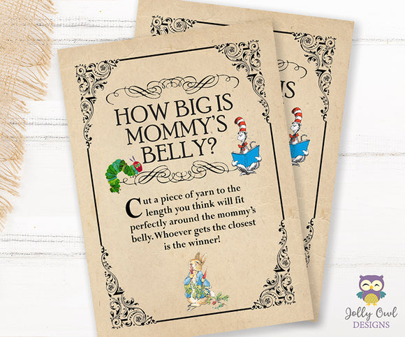 Story Book Themed Baby Shower Game - How big is Mommy's belly