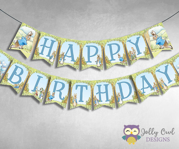 Peter Rabbit Printable Banner - Happy Birthday