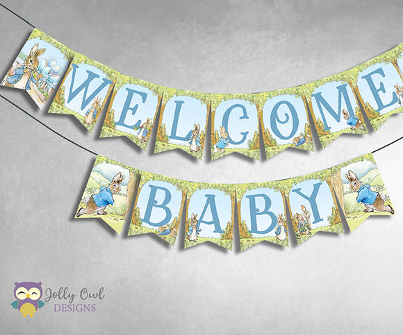 Peter Rabbit Baby Shower Printable Banner - Welcome Baby