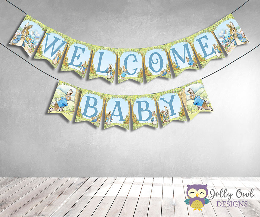 Peter Rabbit Baby Shower Printable Banner Welcome Baby Jolly Owl Designs