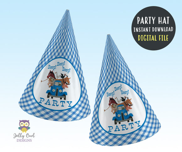 Little Blue Truck Birthday Party Hat - Digital File