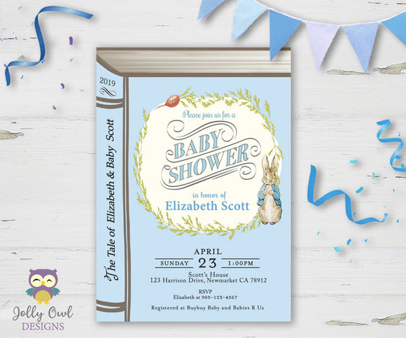 Peter Rabbit Book Themed Baby Shower Invitation