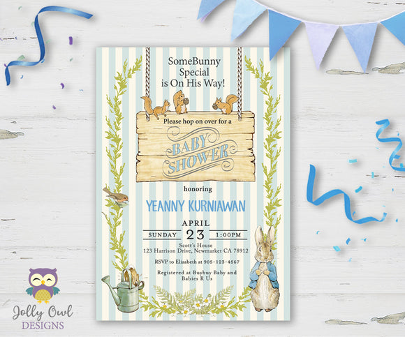 Peter Rabbit Baby Shower Invitation